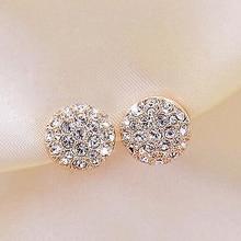 FAMSHIN New round earrings full rhinestone heart-shaped earrings for women OL fashion elegant full rhinestone circle earrings