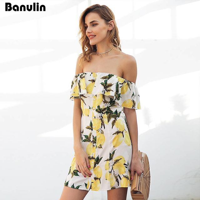 58298961b8 2018 Summer Dresses Off Shoulder Dresses Bohemian Vestidos Floral Strapless  Boho Ruffle Beach Dress Mango Printed