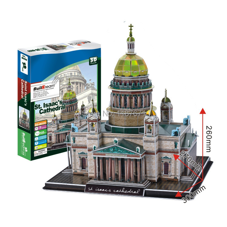Paper Model Diy St Isaacs Cathedral Enlighten Blocks Construction Educational playmobil Toys scale models Sets brinquedos