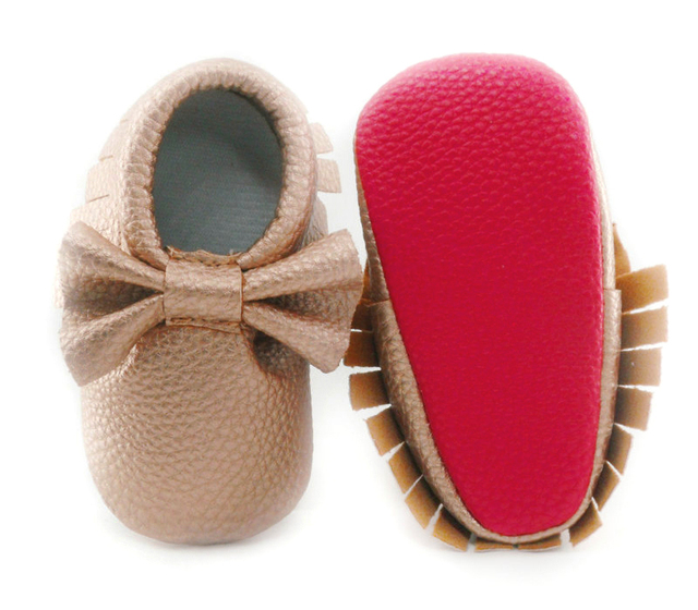 New Red sole PU Leather Newborn Baby Boy Girl Baby Moccasins Soft Moccs Shoes Bebe Fringe Soft Soled Non-slip Footwear Crib Shoe