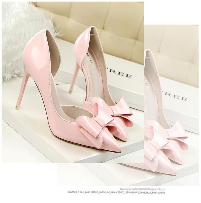 {D&H}Brand Women Shoes High Heels Women's Pumps Bow Two Piece Thin Heel Wedding Shoes Valentine Shoes White zapatos mujer 6