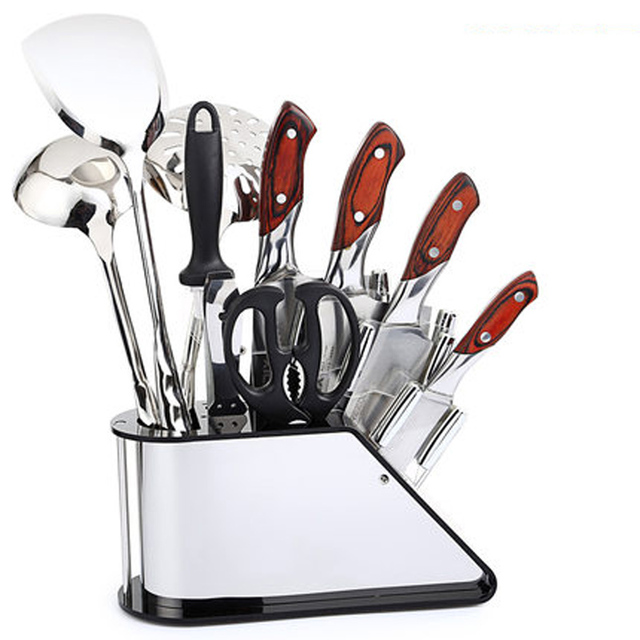 High Quality Stainless Steel Kitchen Knife Rack Holder Plastic Knife Block  Cutting Knife Storage Holder Knife