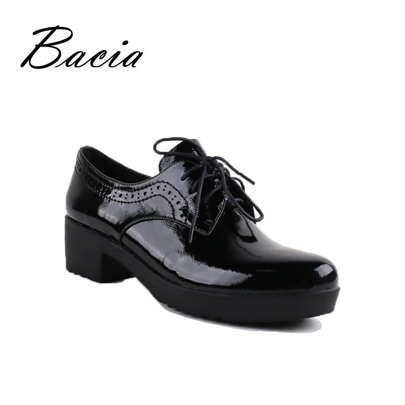 Bacia Casual Shoes Luxury British Style Leather Square Heels For Women Spring Autumn High Quality Pumps Round Toe Shoes VC011 xiaying smile woman pumps shoes women spring autumn wedges heels british style classics round toe lace up thick sole women shoes