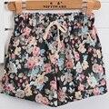 Frete grátis mulheres moda Floral Elastic cintura com cordão de algodão calções calças curtas mulheres mulher calções mais tamanho ocasional