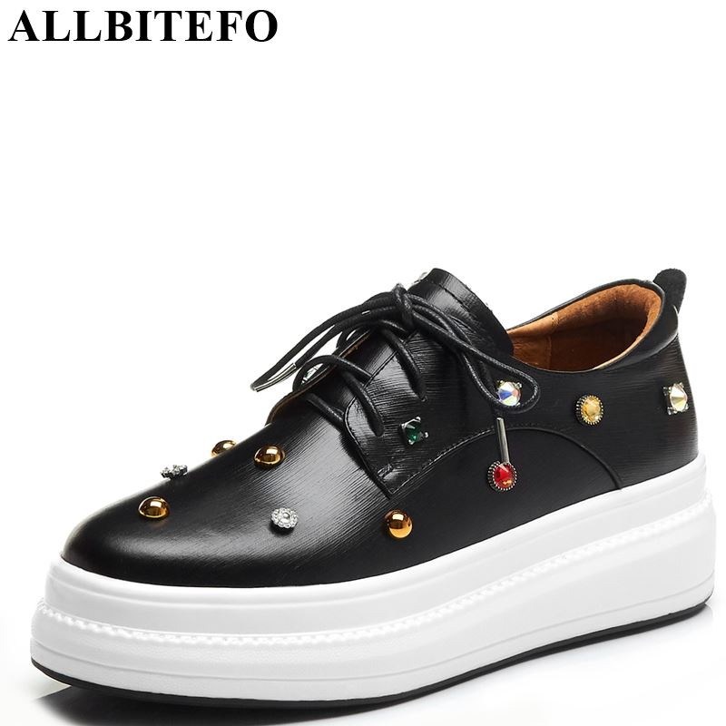 ALLBITEFO genuine leather spring women flats sneakers shoes polka dot lace up girls shoes high quality
