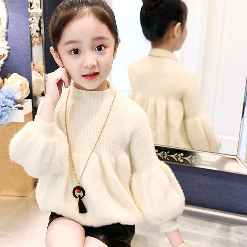 Christmas Lantern Sleeve Princess Baby Girls Sweater Winter Autumn Round Neck Thick Knitted Long Sleeve Knit Coats Girl Clothes geometric spliced print round neck long sleeve sweater