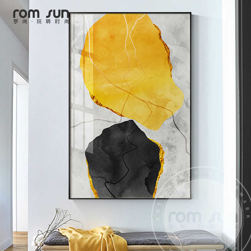 Abstract Strange Thing Yellow And Black Canvas Art Fashion Poster Print Painting On The Wall For Living Room Cuadros Decoracion