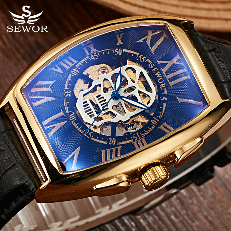 SEWOR Brand Gold Pirate Skull Automatic Mechanical Watch Men Leather Skeleton Watch Steampunk Men Wristwatch Relogio Masculino airsoft adults cs field game skeleton warrior skull paintball mask