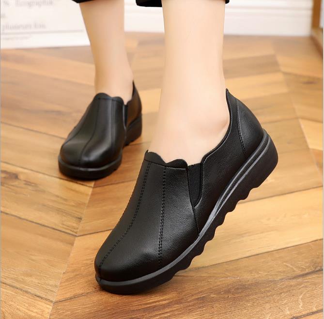 Simples De Chevelu Cuir Casual 2018 Moyen orange Chaussures Mama Noir Confortable Dames Petit Femmes D'âge vin Rond Nouveau Rouge Automne 1Z5vw4