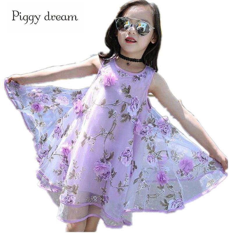 2018 niñas vestido de verano flor Floral gasa impresión princesa ...