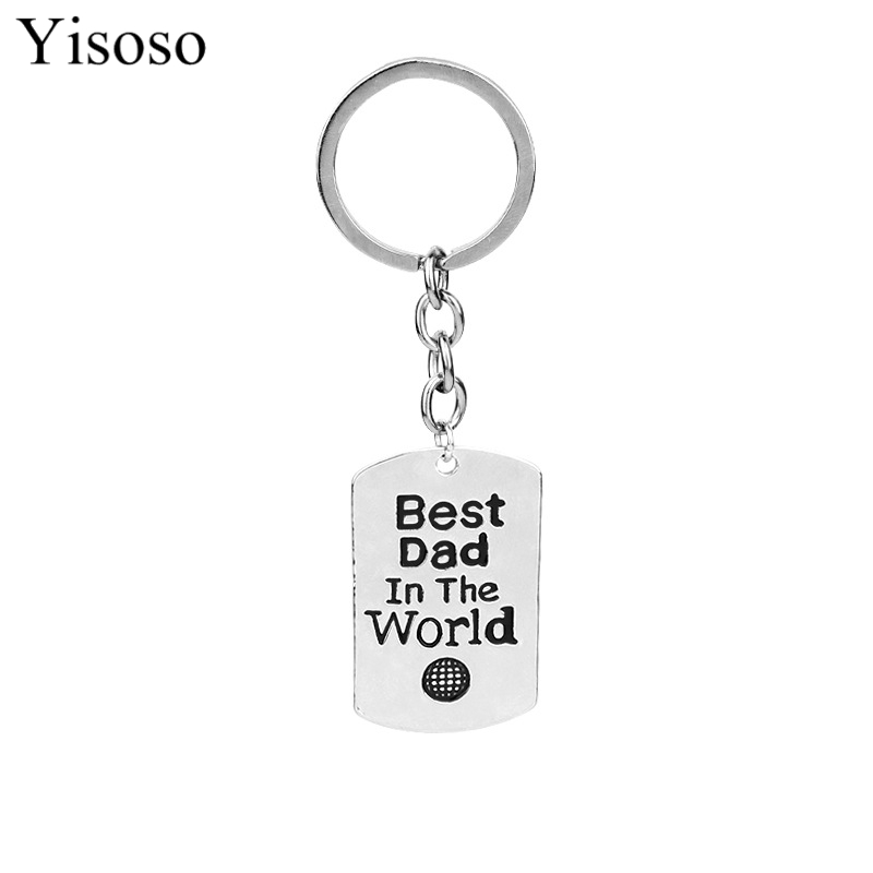 Yisoso Fashion Design Best Dad In The World Charm Pendant Keychain Keyring Family Fathers Gifts Men Jewelry Fathers Day Gift