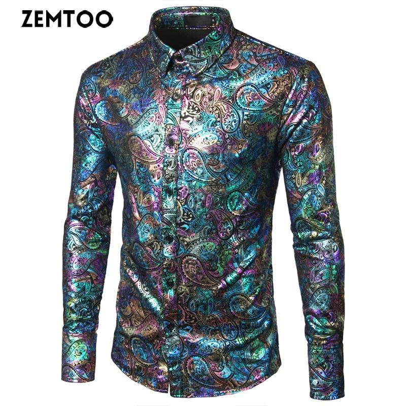 zemtoo 남자 셔츠 긴 소매 패션 꽃 인쇄 남성 셔츠 - 남성 의류
