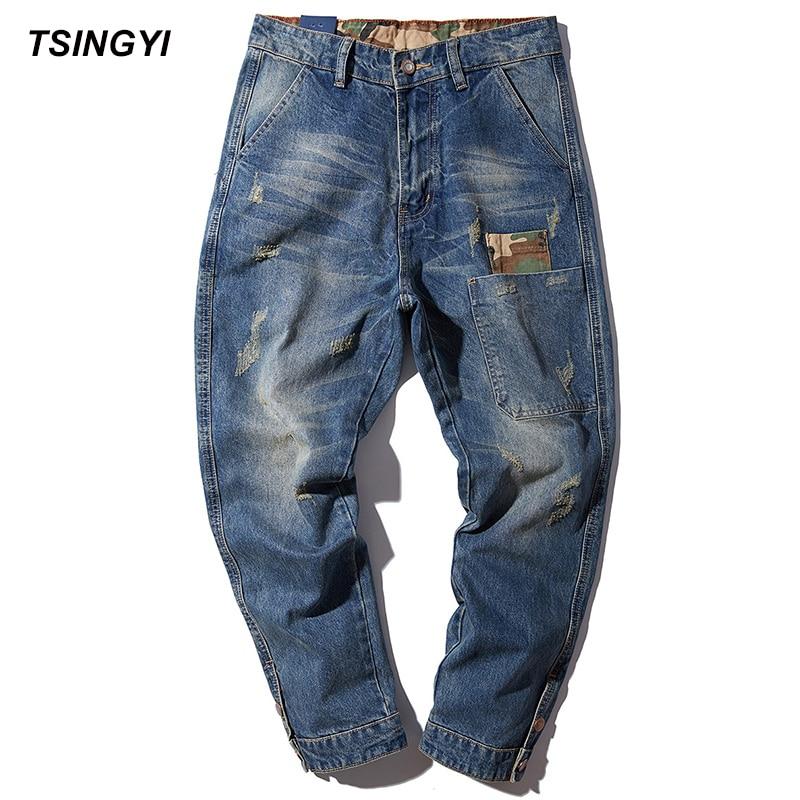 Tsingyi 4XL Autumn Patchwork Jeans Men Worn Do Old Style Blue Harem Pants Homme Denim Medium Wash Long Length Jogger Trousers