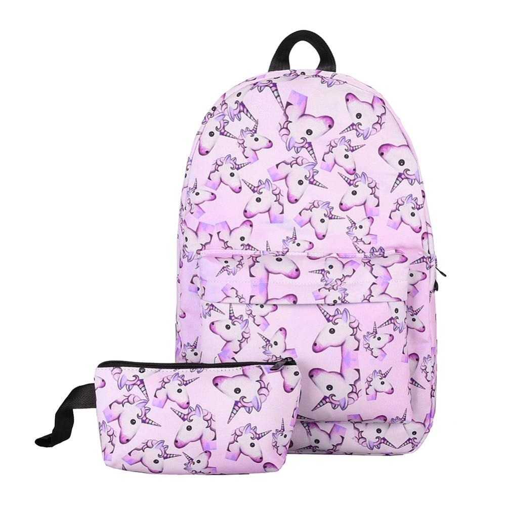 Cute 2Pcs Women Backpack Waterproof 3D Preppy School Bag Mochila Travel Girls Cartoon Bagpack Set