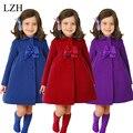2016 Meninas Jaqueta de Inverno Crianças Moda Bonito Bowknot Longo Coats Crianças Quente Pure Color Casacos Outerwear Crianças Roupas de Algodão