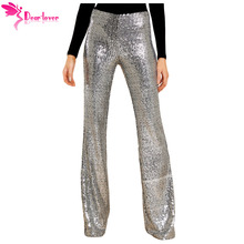 dear-lover Dear Lover Sequin Trousers Women Sparkle Metallic Maxi Ladies High Waist