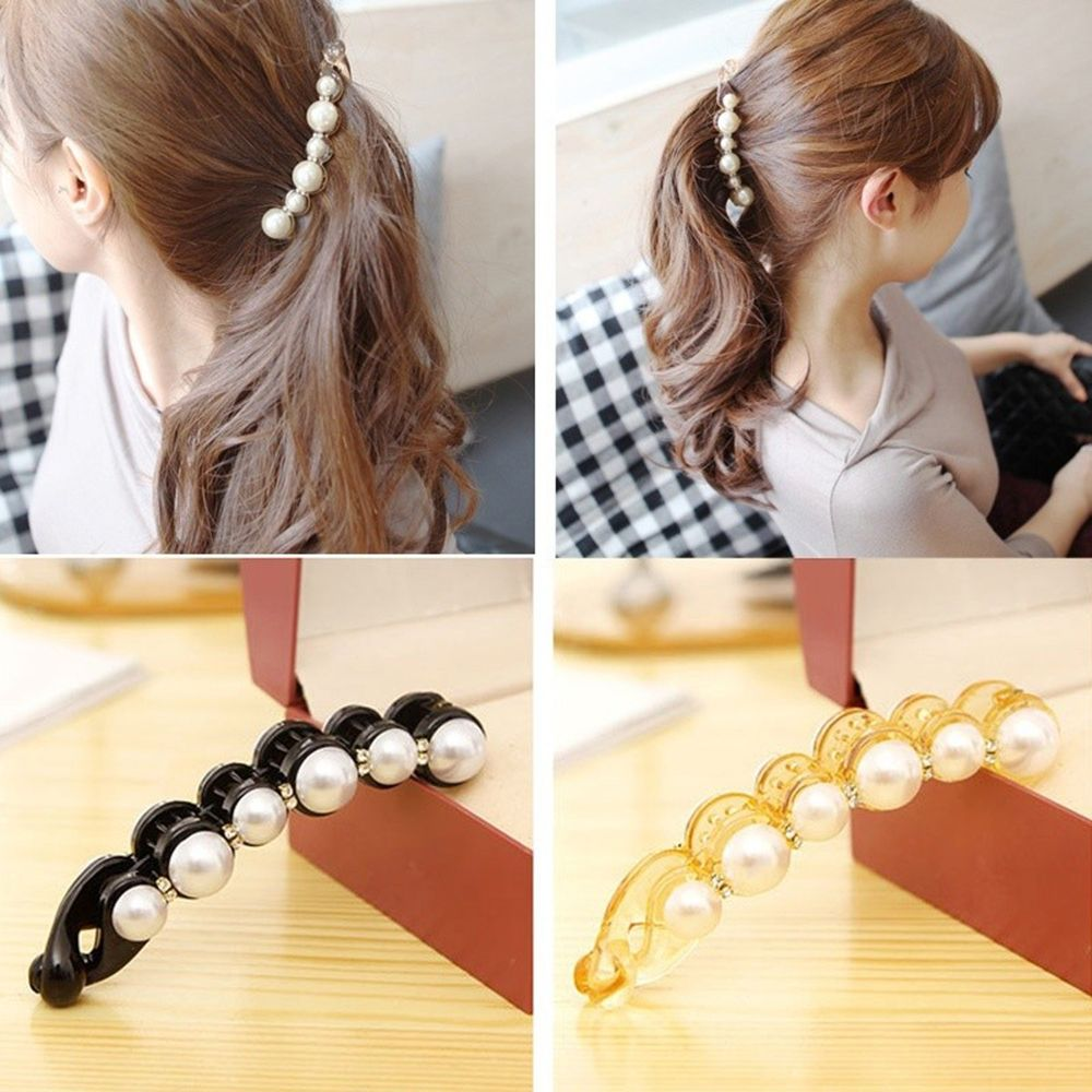 Hot Sale Women Pearl Rhinestone Banana Hair Clips Claws For Lady Adult Hair Combs Fashion Elegant Party Barrette Hair Accessorie