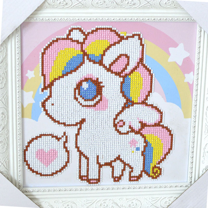 5D DIY Enfant Diamant Rond Peinture Diamant Salon Diamant Point De Croix Enfants Broderie De Bande Dessinée Animal Arc-En-Cheval