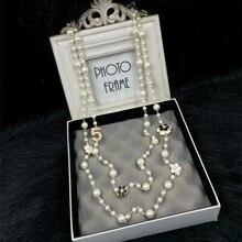 N15 цветы Камелия бренд колье Femme имитация жемчуга ювелирные изделия свитер цепь Perle длинное ожерелье Новинка для женщин