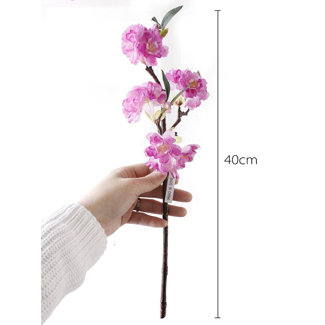 1 ADET Mini Canlı Yapay Çiçek Kiraz Çiçeği Sakura Çift - Tatiller ve Partiler Için - Fotoğraf 6
