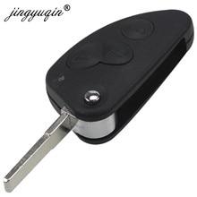 Jingyuqin-carcasa de llave a distancia plegable para coche Alfa Romeo 147 156 166 GT 2/3 botones, carcasa de repuesto de cuchilla SIP22