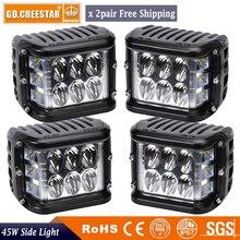 45 Watts 4 polegadas Tiro Lateral Conduziu a Luz do Trabalho Pod Cubos de LED's Off Road Levou barra de Luz de Condução de Luz de 12 Volts RZR UTV Caminhão x2pairs