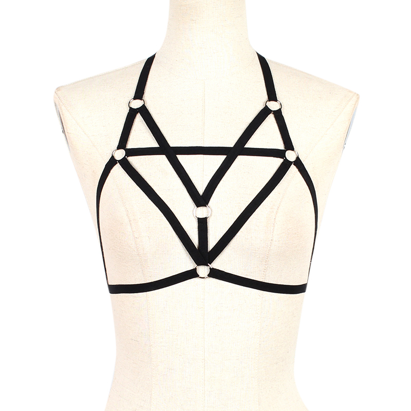 Bondage Body Harness Lingerie Goth Crop Tops Fetish Cage Bra Lingerie Sexy Harness Harness Elastic Bra Rave Wear