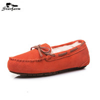 2016 New Fashion Cute Bow Fur Boat Loafer Driving Flat Women Shoes Comfortable Soft Warm Woman