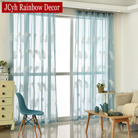 Floral Embroidered Sheer Tulle Curtains For Living Room Girls Blue French Lace Modern Curtain For Bedroom