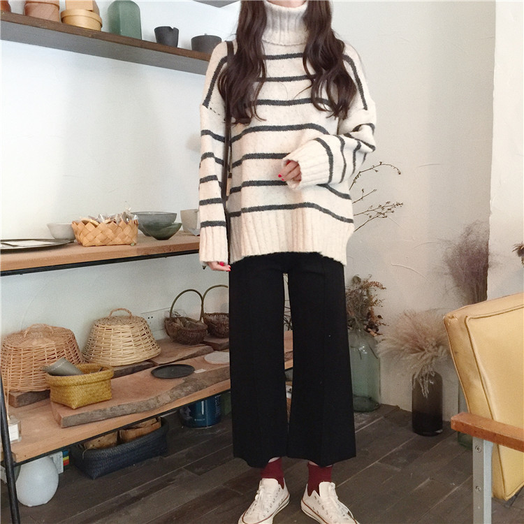 Women Horizontal Red Apricot ~ Turtleneck Hasen Shirt Split Knitting Noise Striped 9741 Shirts Blouse pBYrqZp