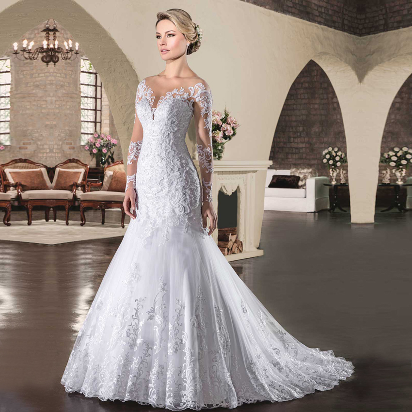 Vestido de Noiva Manga Longa Bridal Gowns Romantic White Lace Long Sleeve Mermaid Wedding Dresses 2018