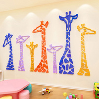 Colored Giraffe Design DIY Wall Sticker 3D Acrylic Stickers for Cafe House Baby Room Nursery School Decoration