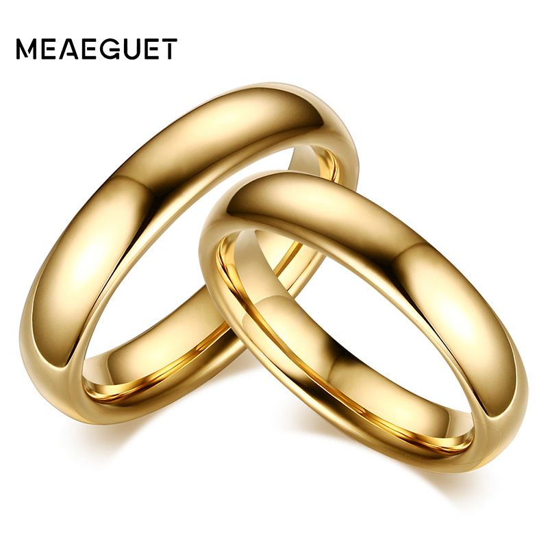Meaeguet Vintage Tungsten Carbide Wedding Rings For Couple Solid Gold-Color Lover's Engagement Anel Jewelry все цены