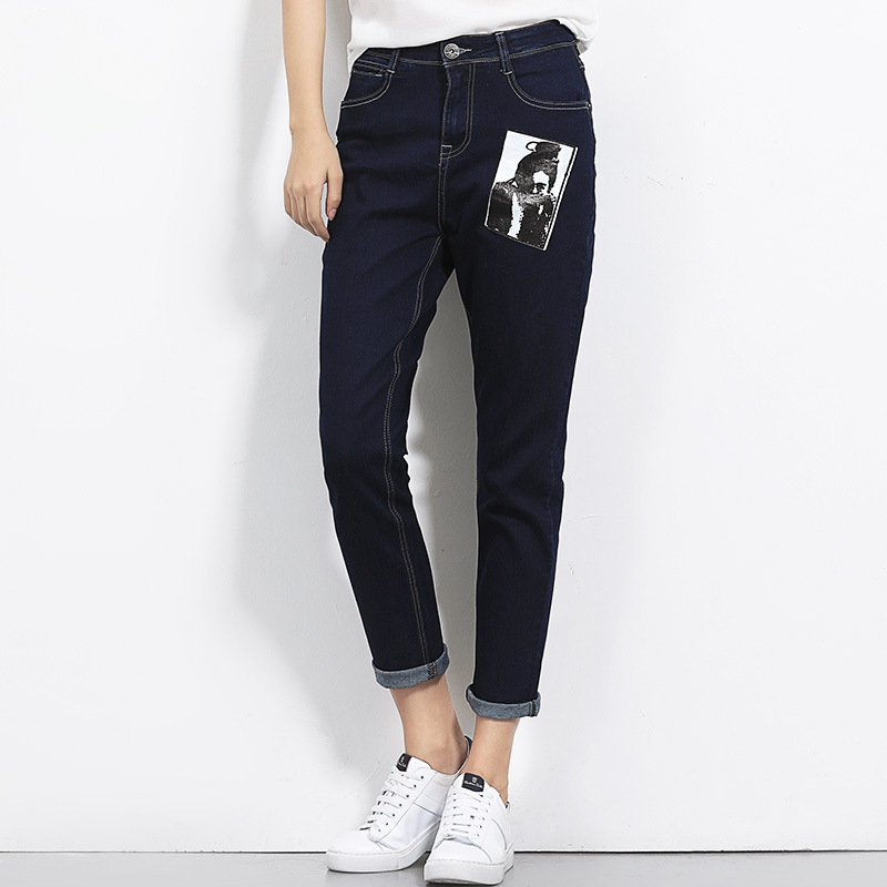 2017 New arrival trouser for women low elastic demin mid waist loose style causal straight jeans women S-6XL