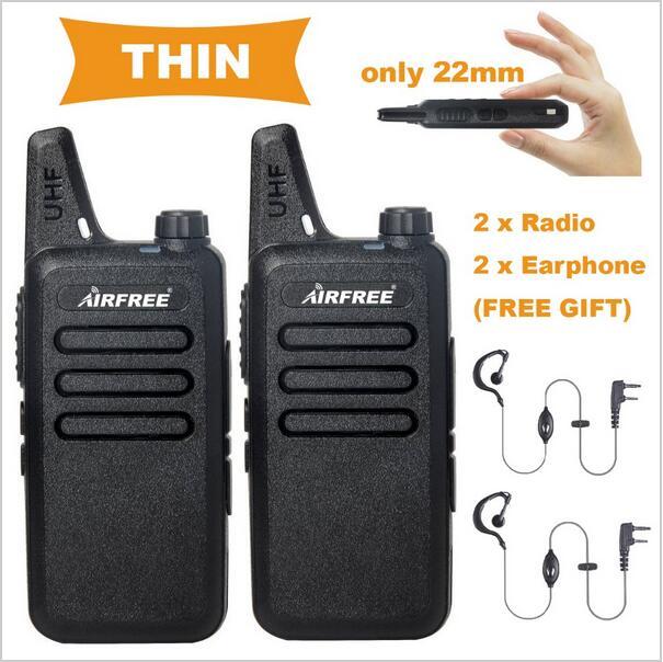 2PCs PMR446 Walkie Talkie AIRFREE AP 100 5W long range licence free PMR Two Way radio