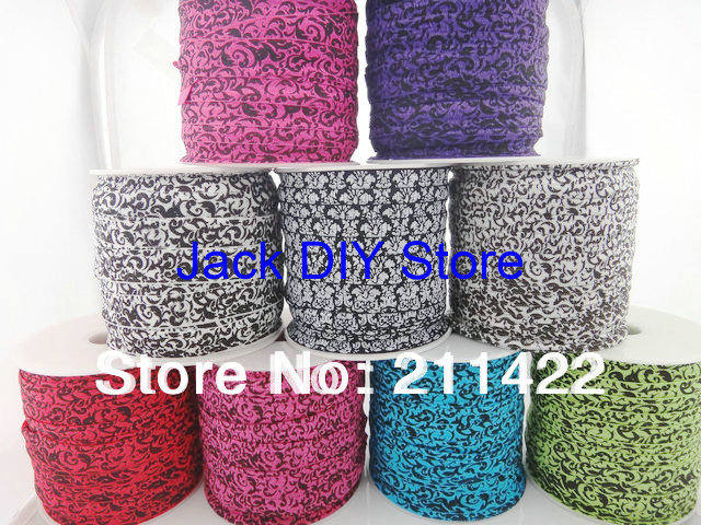 18 rolls DHL Free shipping Mix Damask Glitter Printed FOE 50Yards/roll 1.5cm Foldover elastic for headband Hair Accessories