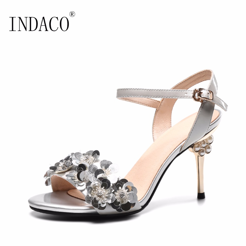 Women Summer Sandals Burgundy Silver Wedding Party Shoes Flowers ...
