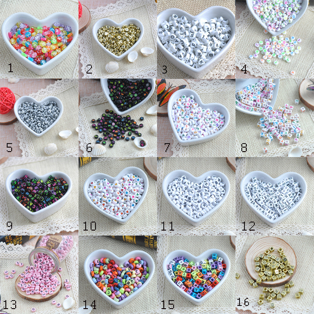 6mm-7mm Mixed Color Alphabet/Letters Flat Round Pony Beads for Jewelry Making YKL0145, 400pcs