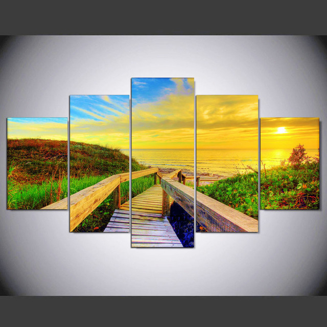5 panel painting HD printed painting Dawn canvas home decor wall art ...