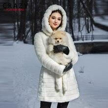 New 2018 Plus Size S-5XL Winter Artificial Faux Mink Fur Coat with a Hood Big size Luxury Fake Fur Coats