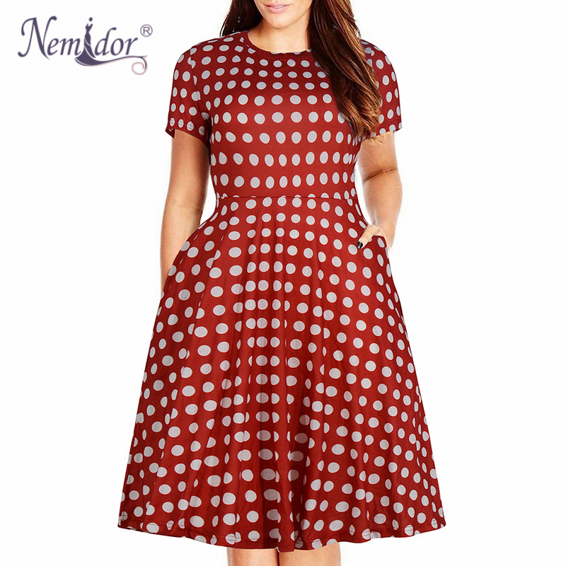 Nemidor Women's Round Neck Summer Casual Plus Size Fit and Flare Midi Dress with Pocket (19)
