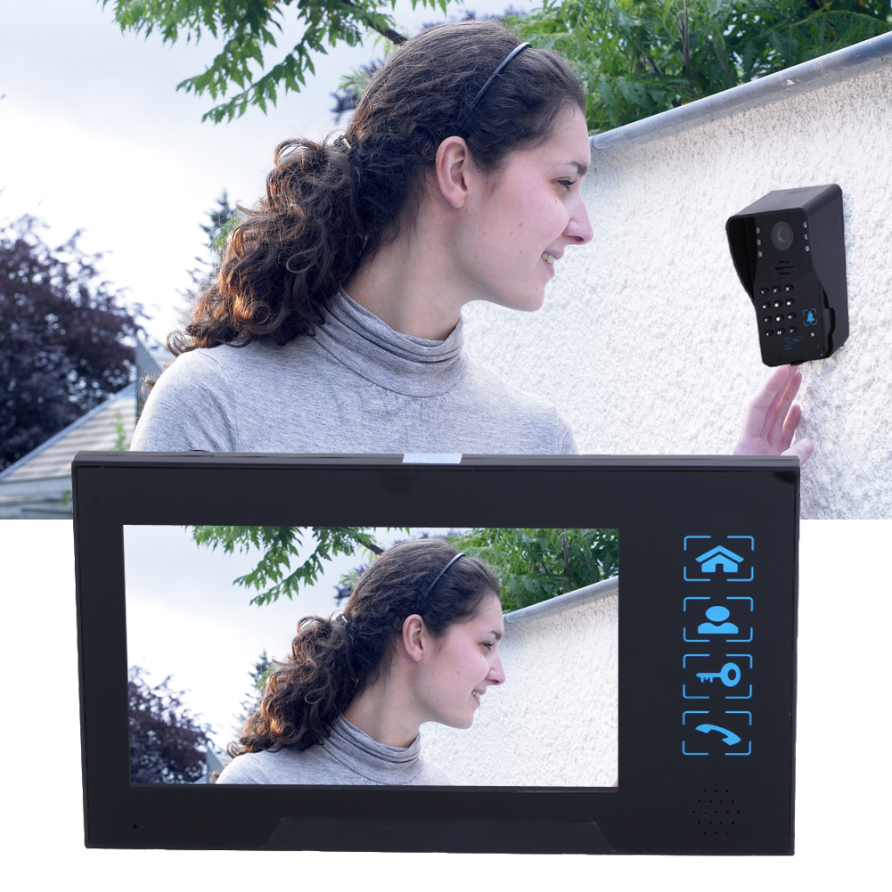 LCD Screen HD Villa-Type Video Doorbell IR Night Vision Visual Rain-proof 7-inch Calendar Models Comes With Memory Card #LO 7 inch screen indoor unit wired video intercom doorbell villa unlocking access control rain with night vision