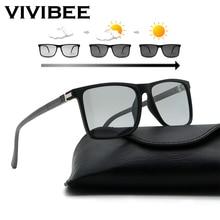 VIVIBEE Men Advanced Photochromic Sunglasses TAC Polarized TR90 Light Square Frame Transition Lenses Colors Driving Sun Glasses