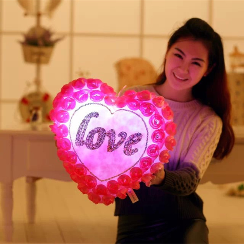 1Pcs Colorful Pillow Love Heart Roses LED Luminous Light Pillow Plush toys Soft Relax Pillow For Girlfriend Wife Gift WJ451