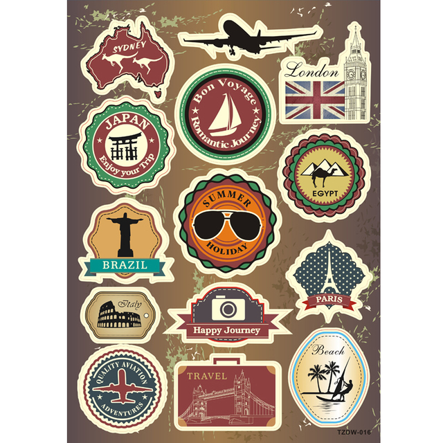 US $2 99 40% OFF|14PCS Retro Travel logo Car stickers For computer Notebook  scooter suitcase waterproof DIY sunscreen PVC decals-in Car Stickers from