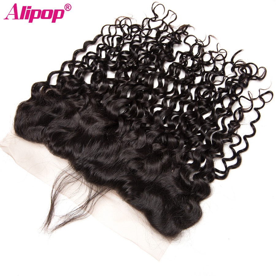 Water Wave 13x4 Lace Frontal Closure Brazilian Human Hair Closure Pre Plucked Frontal Remy curly Closure Natural Black ALIPOP (6)