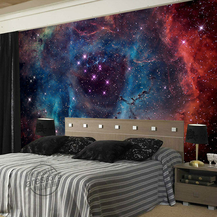 Popular galaxy wallpaper buy cheap galaxy wallpaper lots for Mural art designs for bedroom