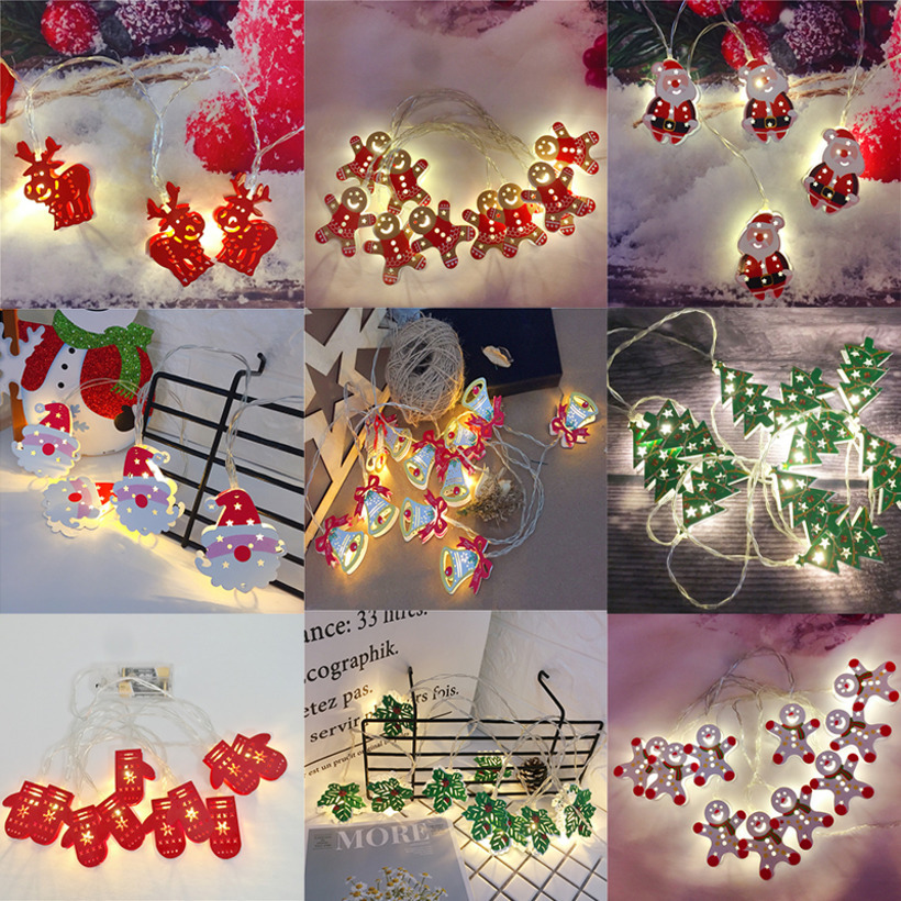 2M Christmas Fairy Light Snowflake Bell Deer Garland Indoor Light LED Light String Light Party Decoration New Year Decor Pendant