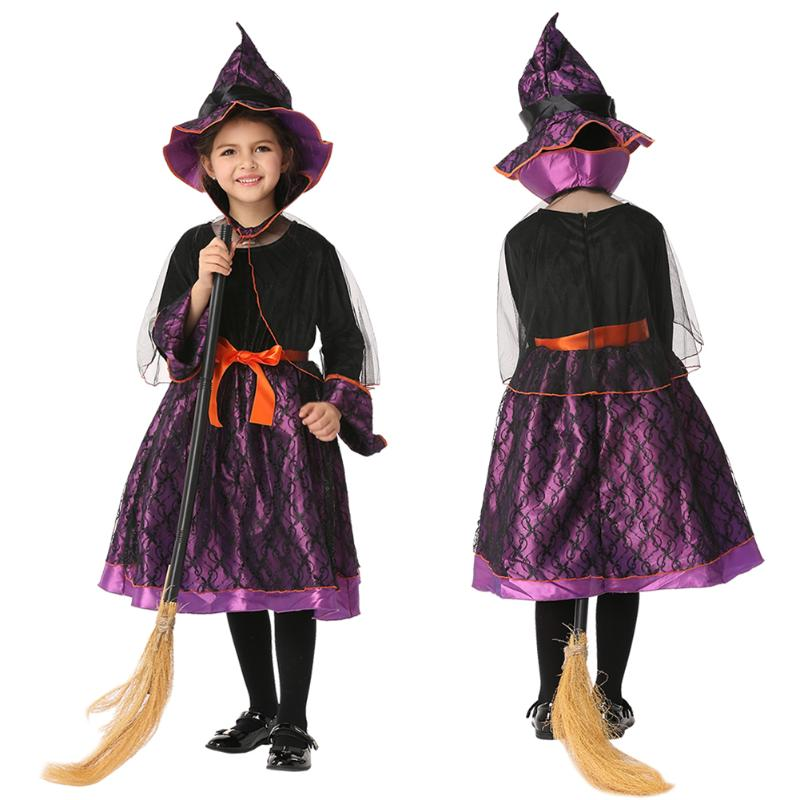 2017 girl witch dress hat cap princess party dresses halloween girl cosplay witch dress hat - Cheap Halloween Dresses