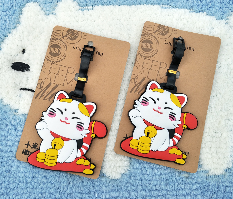 IVYYE Cute Lucky Cat Anime Travel Accessories Luggage Tag Suitcase ID Address Portable Tags Holder Baggage Labels New